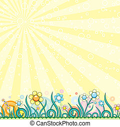 Cartoon Spring - Brightly Cartoon Spring, vector background