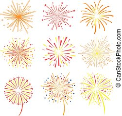 Brightly celebration fireworks set, holiday and party firework design elements vector illustration