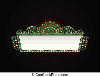 Brightly christmas theater glowing retro cinema neon sign