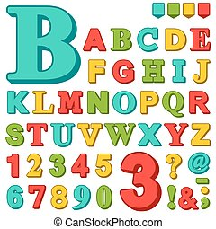 Brightly colored alphabet letters and numbers