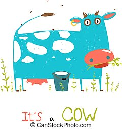Brightly Colored Fun Cow and Milk for Kids - Blue and white...