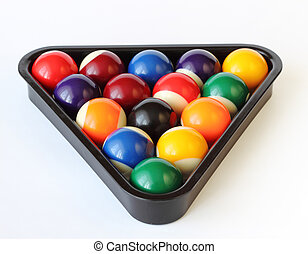 Brightly colored pool or billiard balls on white