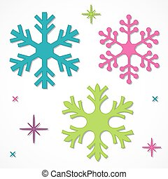 Brightly colored snowflakes