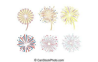 Brightly colorful fireworks set, design element can be used for holidays, celebration party, anniversary or festival vector Illustration on a white background