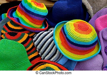 Brightly colour hats