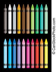 crayon collection - Brightly coloured crayon collection with...