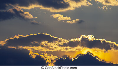 brightly contrasting cloudy sky at sunset