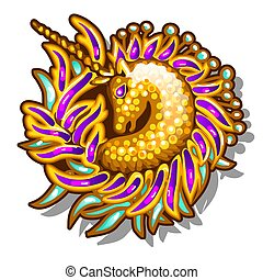 Brightly decorated jewelry in the form of brooches or pendants with a picture of a Golden unicorn isolated on white background. Vector cartoon close-up illustration.