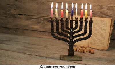 Brightly Glowing Hanukkah Menorah - Shallow Depth of Field -...