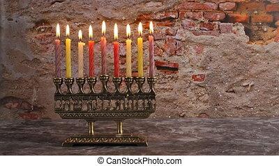 Brightly Glowing Hanukkah Menorah Shallow Depth of Field