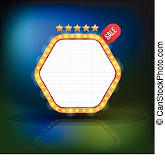 Brightly glowing retro banner. Retro Banner Promotion. Theatre cinema board style. Vector illustration.