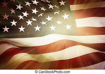 Brightly lit American flag