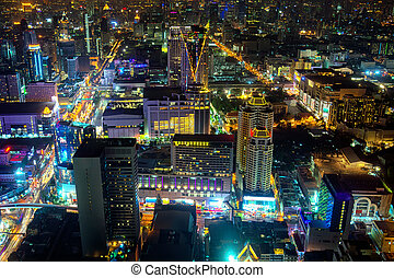 Brightly Lit, Nightime Skyline of a City in Asia