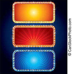 Glowing Vector Neon Signs - advertising brightly backgrounds for your text or design