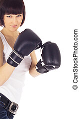 brightly picture of woman in boxing gloves