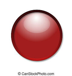 brightly red button on a white background