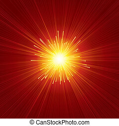 Red Sunburst - Brightly Red Sunburst Background