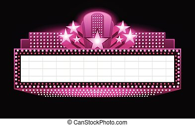 Brightly theater glowing pink retro cinema neon sign -...