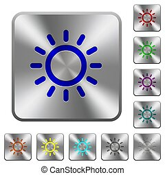 Brightness control rounded square steel buttons