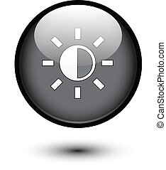 Brightness icon on black button
