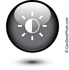 Brightness icon on black button