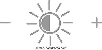 Brightness icon or symbol. Sun with plus and minus icons. Vector illustration.