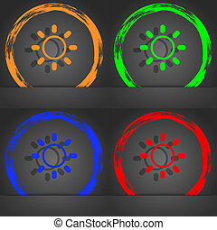 Brightness icon sign. Fashionable modern style. In the orange, green, blue, red design.