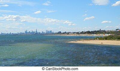Brighton Beach and Melbourne Skylin
