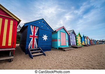 Brighton beach bathing boxes, Melbourne. Brighton beach located in the south of Melbourne. Bathing boxes are the well-known landmark of Birghton beach in Melbourne.