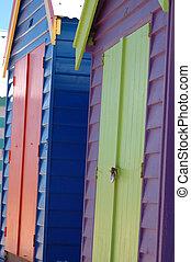 Brighton Beach. - colorful Brighton boat sheds, Melbourne,...