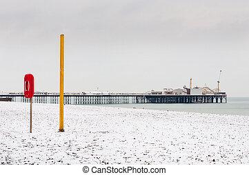 Brighton beach in winter