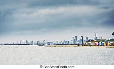 brighton, beachhouses, bahía