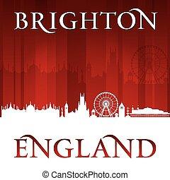 Brighton England city skyline silhouette red background