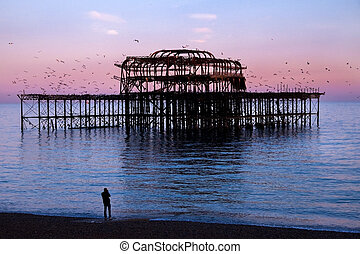 Brighton West Pier at sunset with birds flying round it