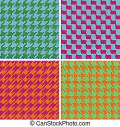 brights, retro, houndstooth, pixel