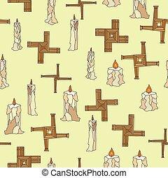 brigid, imbolc, bougies, croix, seamless, vecteur