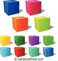 brignt, ensemble, 3d, cubes
