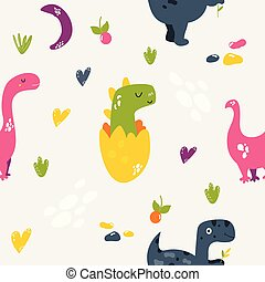 Brigt seamless pattern with cute dinos