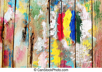 Bright multi colored wooden background