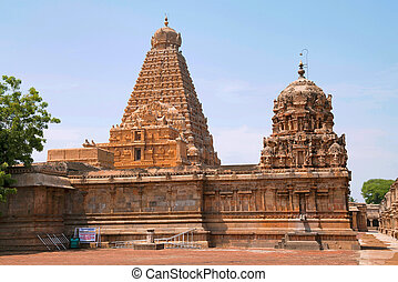 brihadisvara, tanjore, santuario, plano de fondo, amman, tamil, templo, nadu