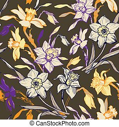 Briht colorful floral seamless pattern with hand drawn flowers daffodils, narcissus.