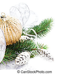 Briight Christmas card with Festive Decorations and  Fir Tree br