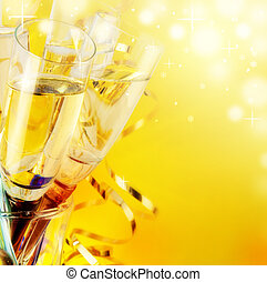 bril, achtergrond, nieuw jaar, champagne