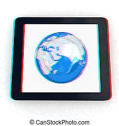 bril, anaglyph., earch, concept., internet, aanzicht, zien, telefoon, globaal, witte , red/cyan, achtergrond., illustration., 3d, 3d.