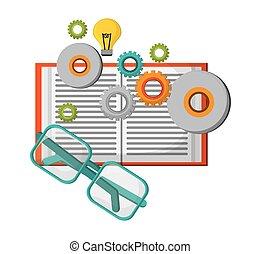 bril, boek, idee, leren, tandwiel