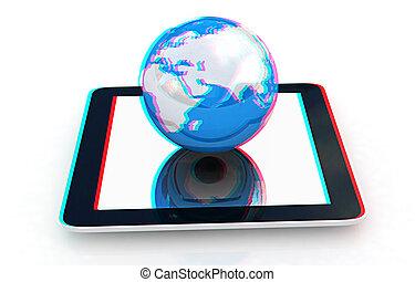 bril, earch., concept., internet, aanzicht, telefoon, globaal, zien, red/cyan, anaglyph., illustration., 3d, 3d.