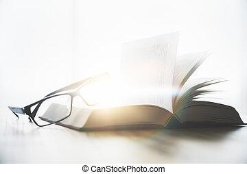 bril, en, opengeslagen boek