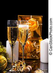 bril, gevulde, met, het fonkelen, champagne