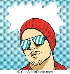 bril, jonge, illustratie, funky, vector, liggen, hoedje, man