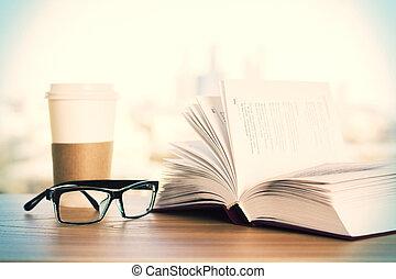bril, koffie, en, boek